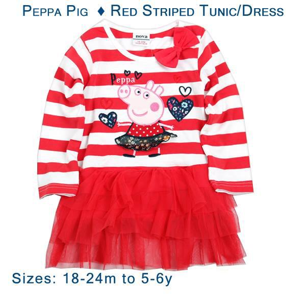 Peppa Pig - Red Striped Tunic/Dress - Gab\'s CutieWear